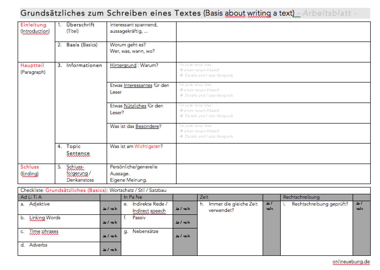 Arbeitsblatt: Strukturierten Text schreiben - Struktur und Stil ...