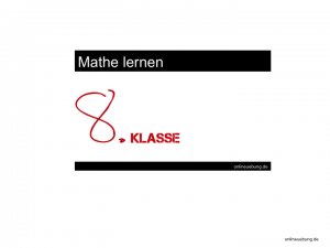 Mathe 8 Klasse