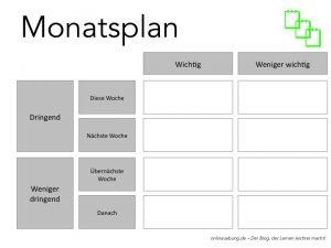 Zeitmanagement für Schüler - Monatsplan
