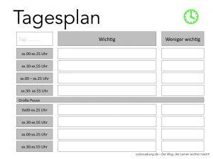 Zeitmanagement für Schüler - Tagesplan