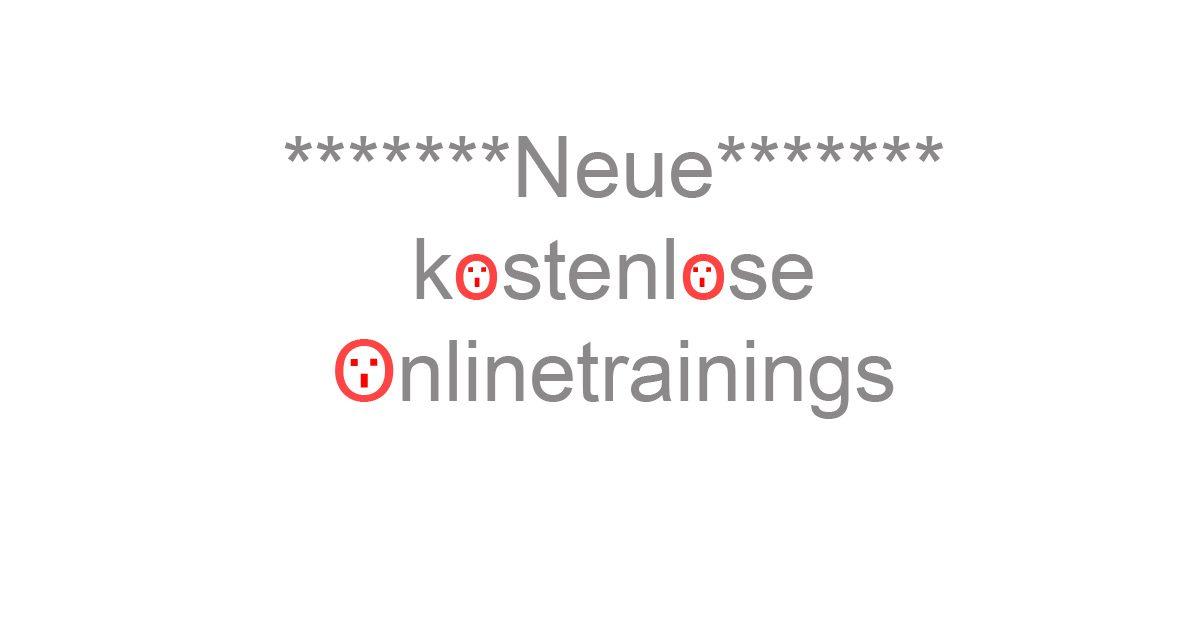 Neue kostenlose Onlinetrainings