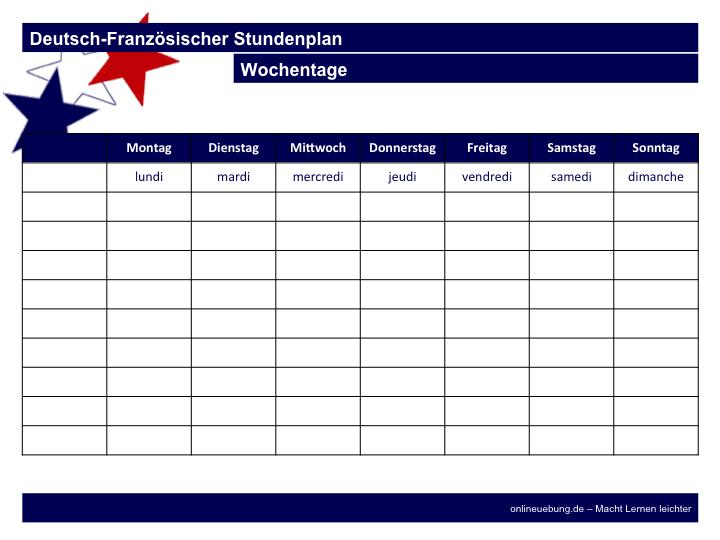 Deutsch-Französische Stundenplan - französische Wochentage lernen