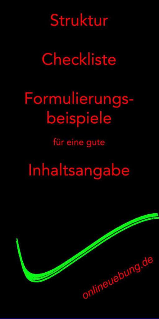 Deutsch - Inhaltsangabe - Struktur, Checkliste, Formulierungsbeispiele