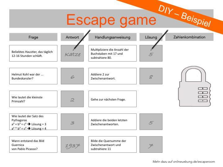 Escape game - Beispielaufgabe