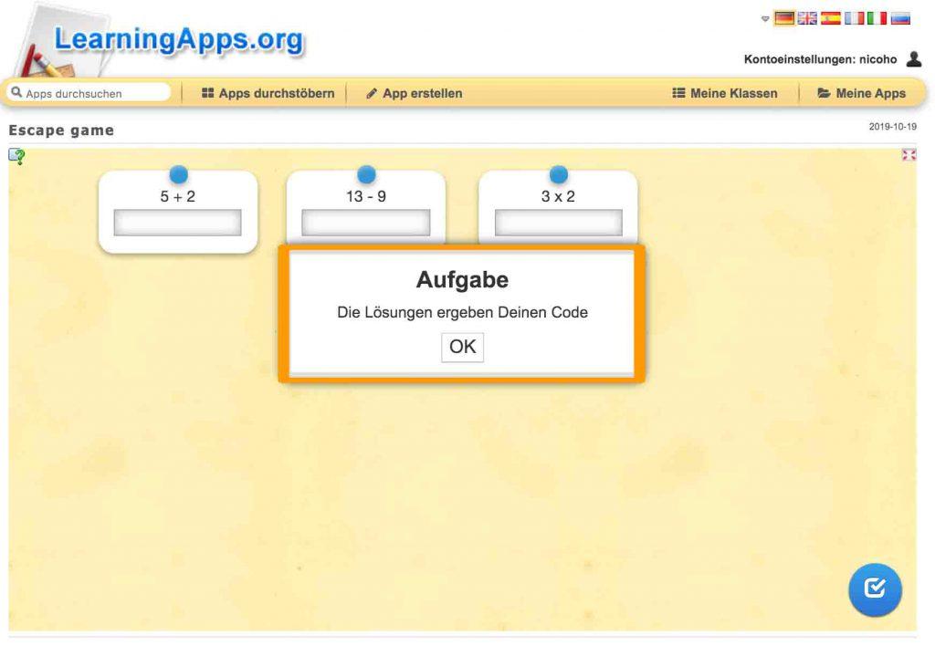Lösung als Code - Aufgaben in Learningapps
