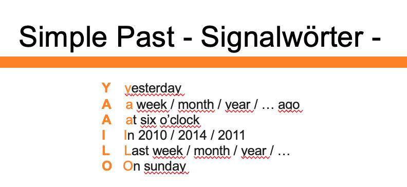Simple Past - Signalwörter - YAAILO